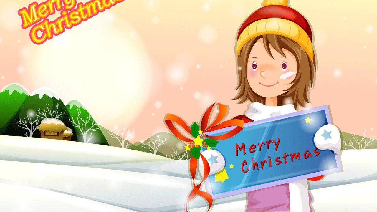 Девочка с пожеланием на рождество - C Рождеством Христовым поздравительные картинки