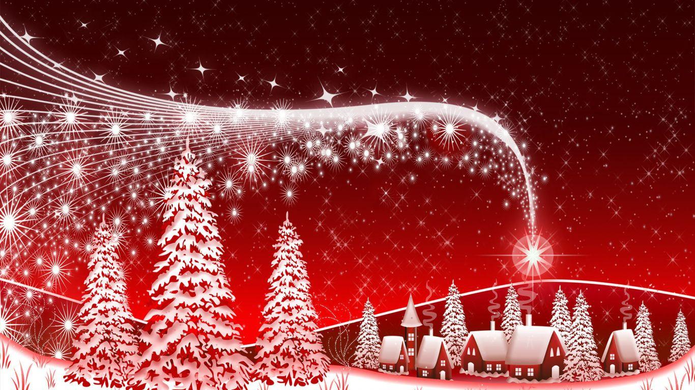 Звезда в небе на красном фоне на рождество - C Рождеством Христовым поздравительные картинки