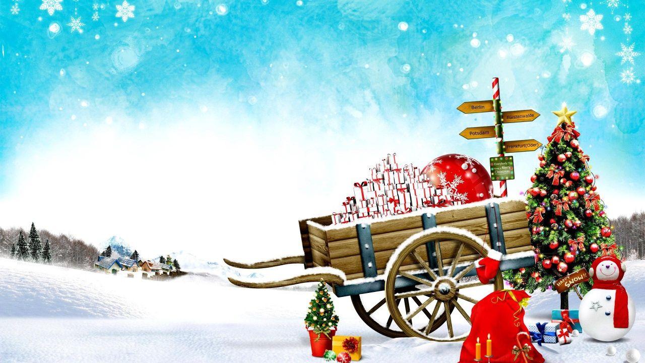 Сани Санта Клауса на Рождество - C Рождеством Христовым поздравительные картинки
