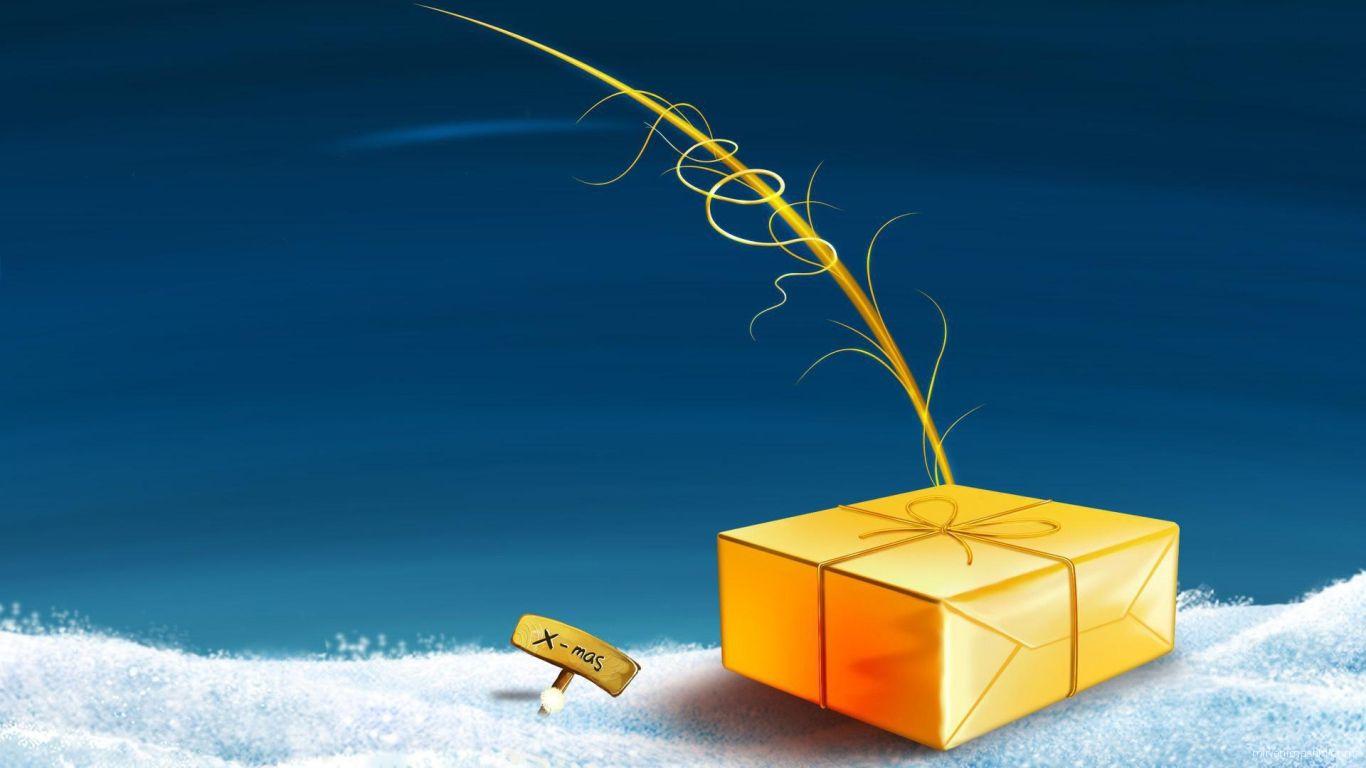 Жёлтая подарочная коробка лежит на снегу на рождество - C Рождеством Христовым поздравительные картинки