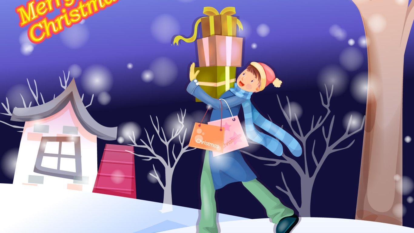 Мальчик идёт дарить подарки на рождество - C Рождеством Христовым поздравительные картинки