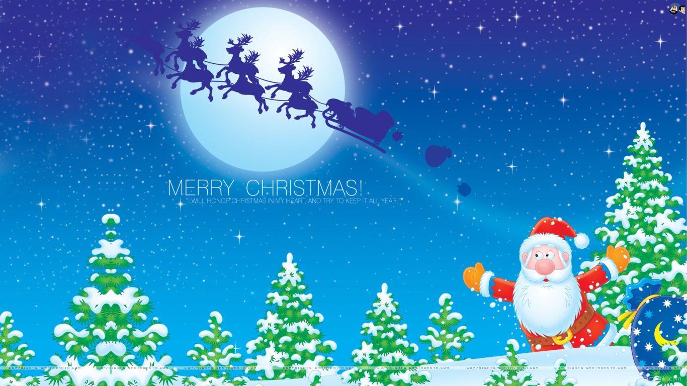 Олени убежали от Деда Мороза на рождество - C Рождеством Христовым поздравительные картинки