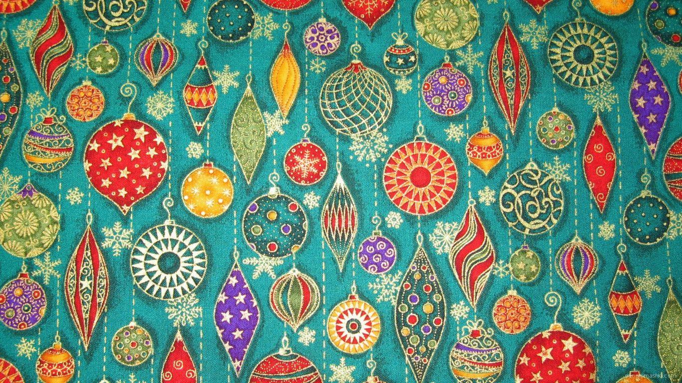 Ткань с рисунком ёлочных игрушек на рождество - C Рождеством Христовым поздравительные картинки