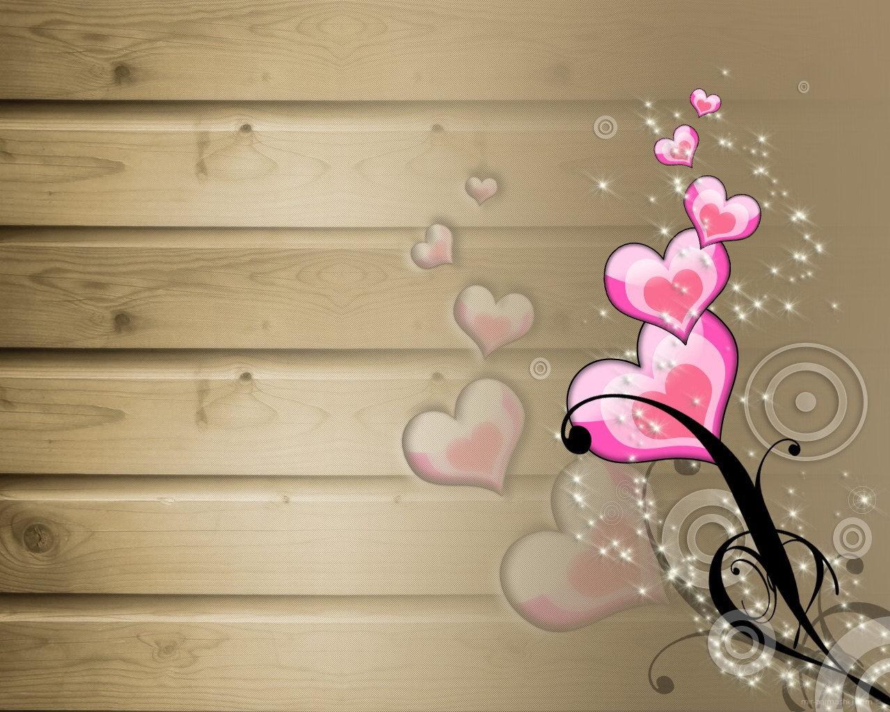 Розовые сердечки - С днем Святого Валентина поздравительные картинки