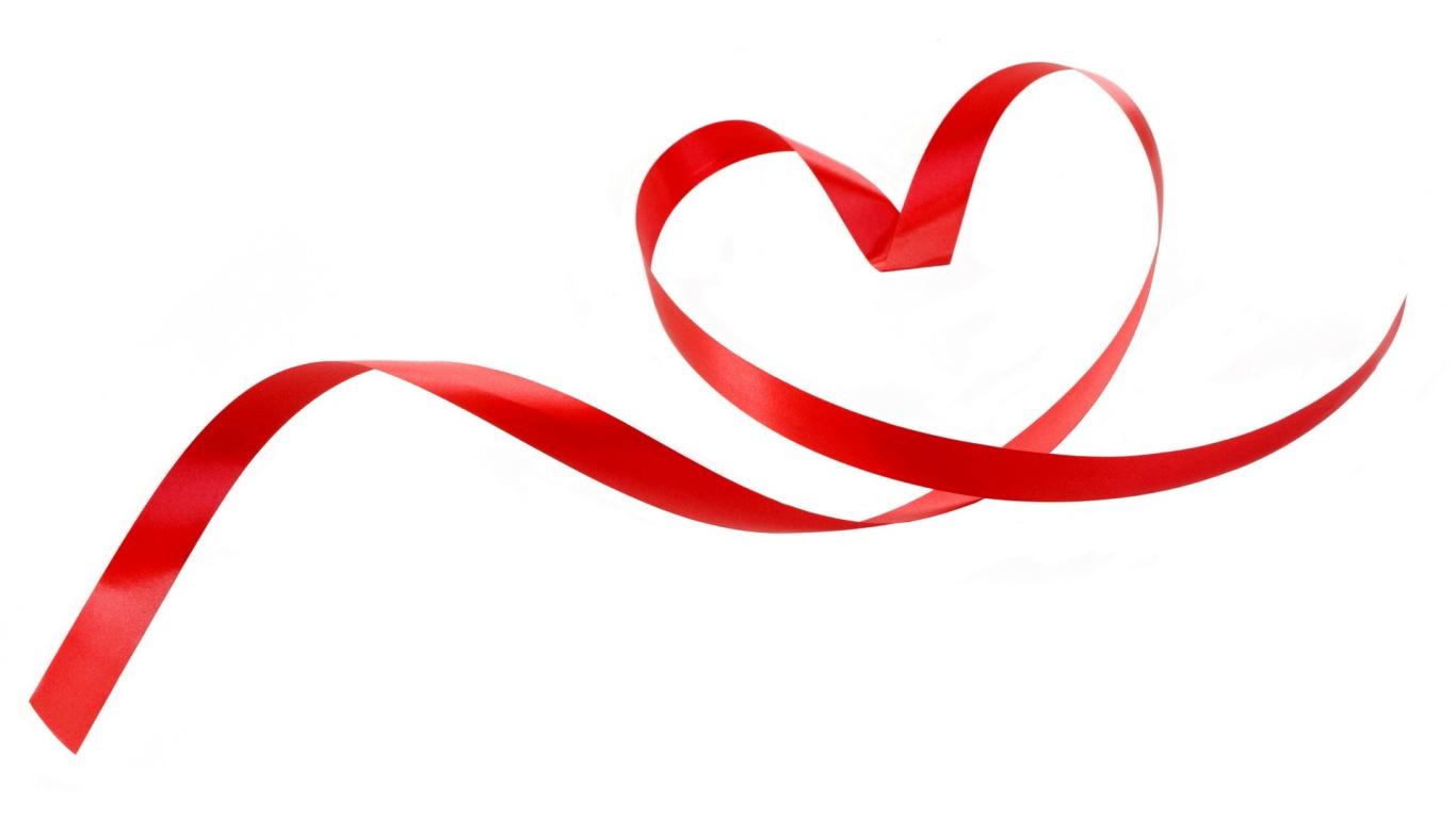 Сердце из ленты на День Влюбленных 14 февраля - С днем Святого Валентина поздравительные картинки