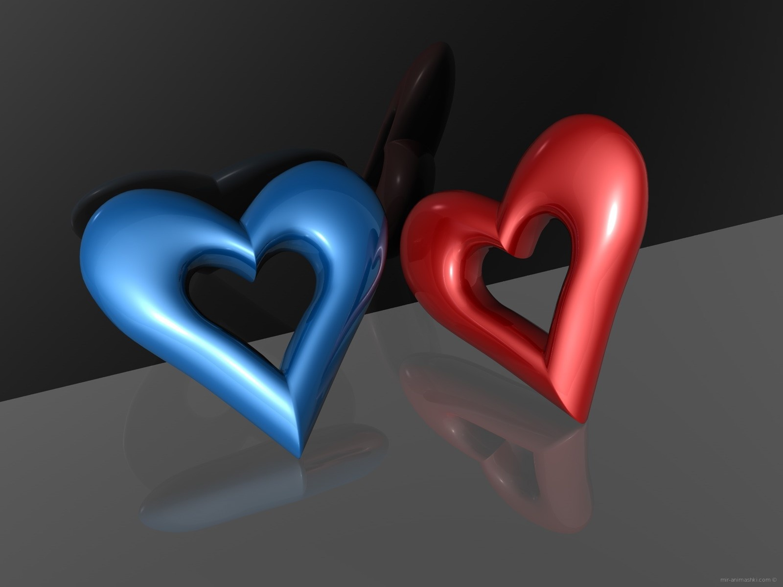 Синий и красный сердечки - С днем Святого Валентина поздравительные картинки