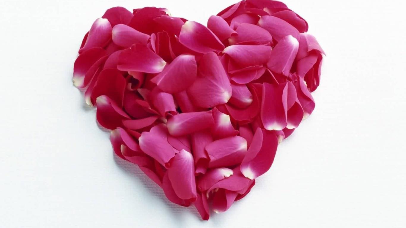 Сердце из красных лепестков на День Влюбленных 14 февраля - С днем Святого Валентина поздравительные картинки