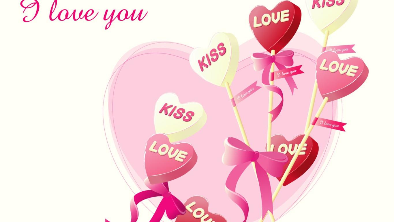 Розовые сердца леденцы на День Святого Валентина 14 февраля - С днем Святого Валентина поздравительные картинки