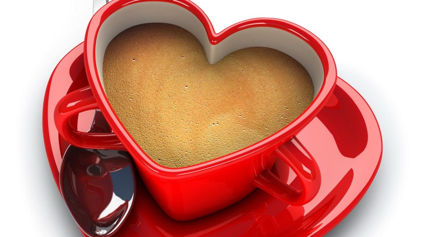 Чашка в форме сердца на День Святого Валентина 14 февраля - С днем Святого Валентина поздравительные картинки