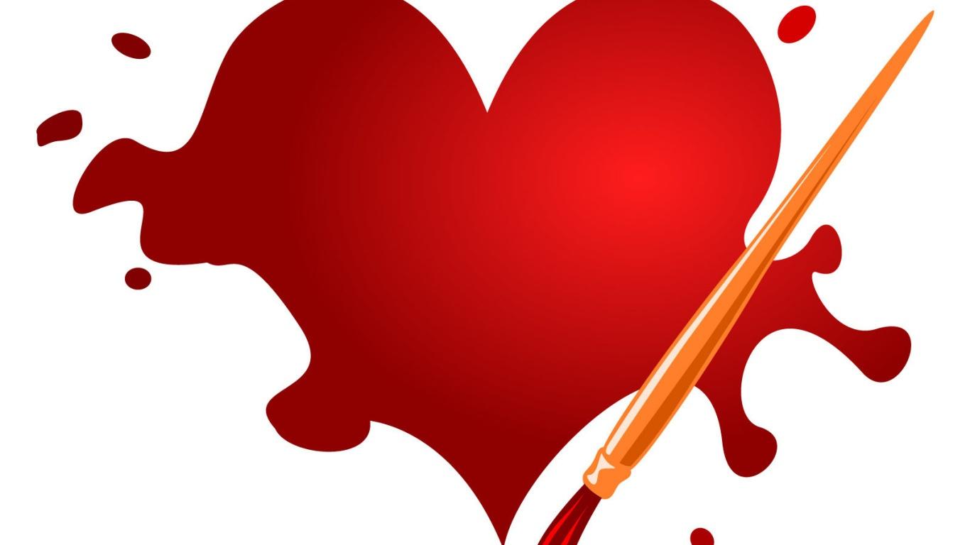 Нарисованное сердце на День Влюбленных 14 февраля - С днем Святого Валентина поздравительные картинки
