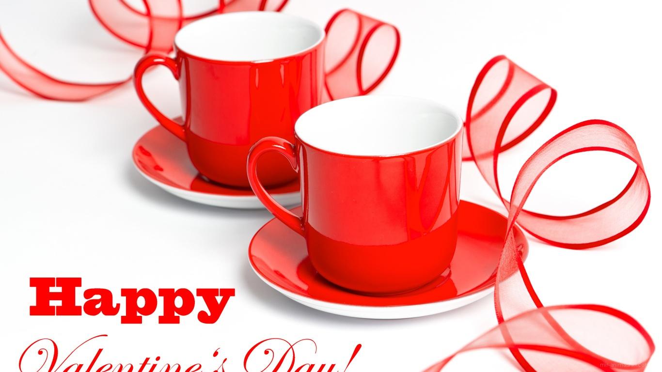 Пара чашек на День Святого Валентина 14 февраля - С днем Святого Валентина поздравительные картинки