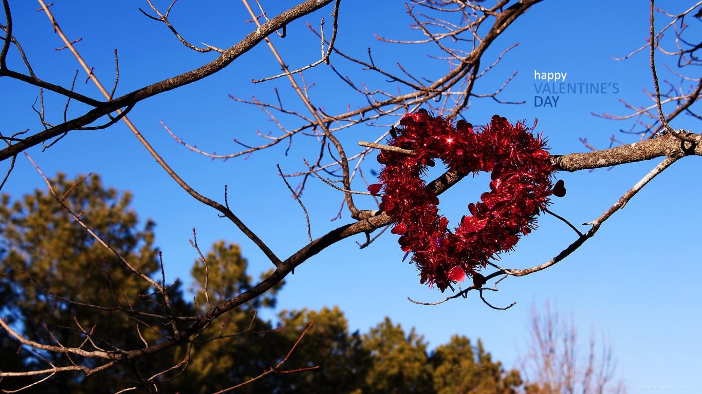Сердце на ветках на День Святого Валентина 14 февраля - С днем Святого Валентина поздравительные картинки