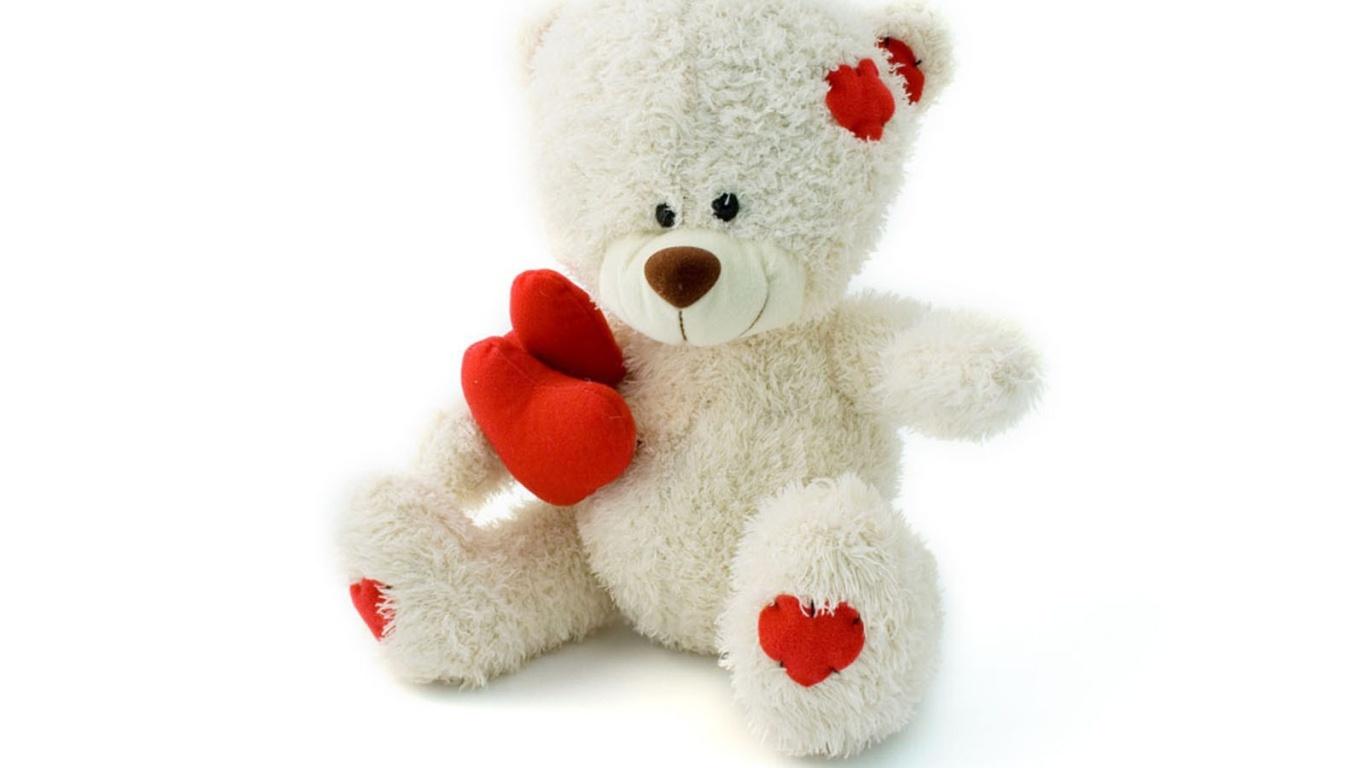 Белый медвежонок на День Влюбленных 14 февраля - С днем Святого Валентина поздравительные картинки