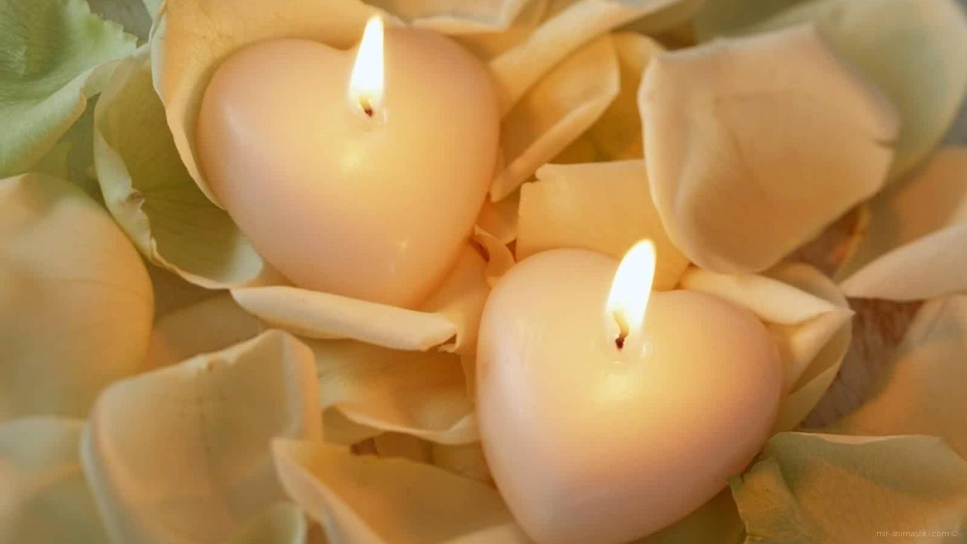 Две свечи в форме сердца на День Святого Валентина 14 февраля - С днем Святого Валентина поздравительные картинки