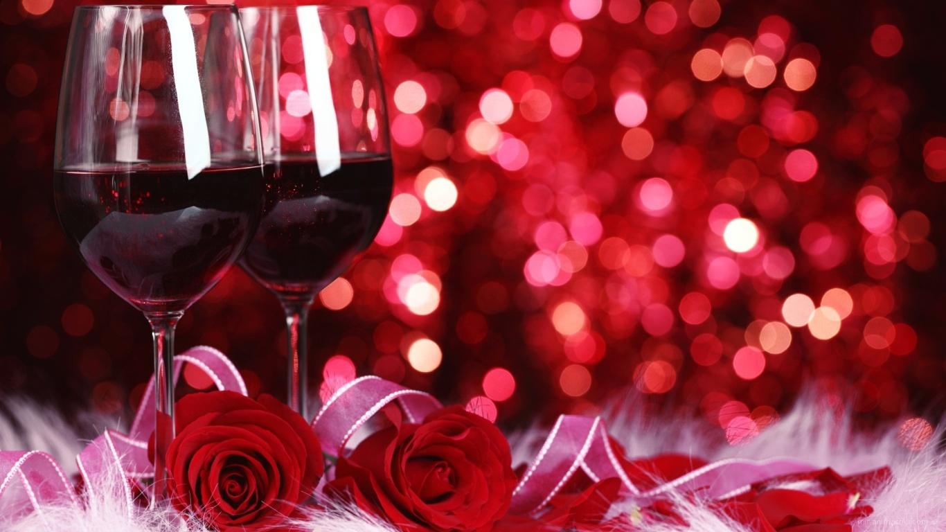 Два бокала на День Святого Валентина 14 февраля - С днем Святого Валентина поздравительные картинки