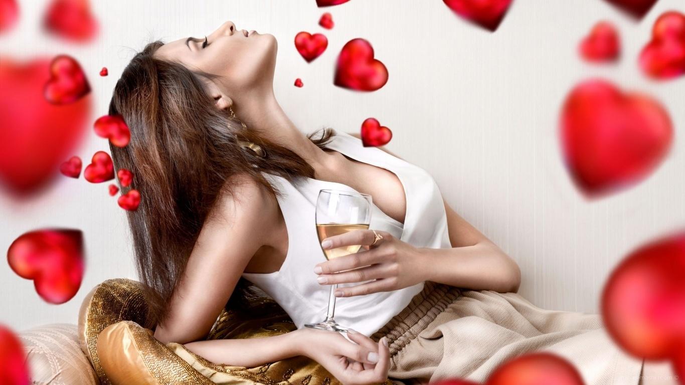 Влюбленная девушка - С днем Святого Валентина поздравительные картинки