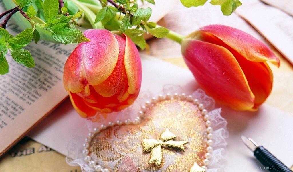 Цветы и сердечко на День Святого Валентина - С днем Святого Валентина поздравительные картинки