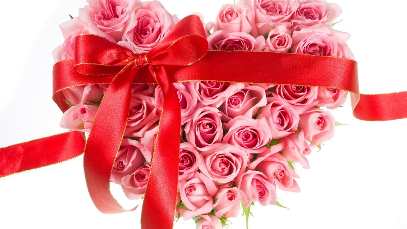 Букет из роз в форме сердца на День Святого Валентина 14 февраля - С днем Святого Валентина поздравительные картинки