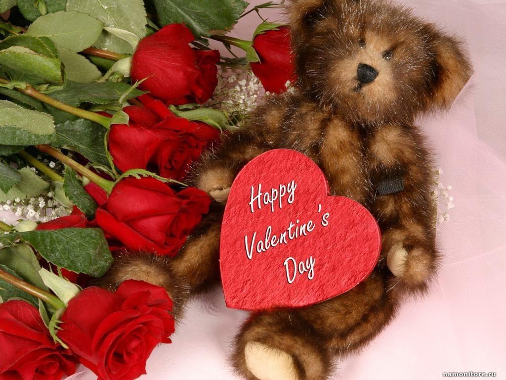 Розы и медведь на День Святого Валентина - С днем Святого Валентина поздравительные картинки