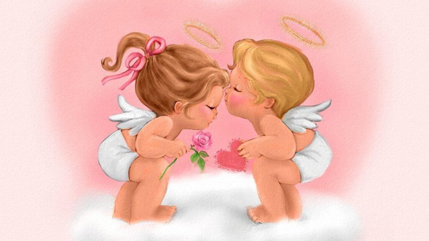 Ангелочки на День Святого Валентина 14 февраля - С днем Святого Валентина поздравительные картинки