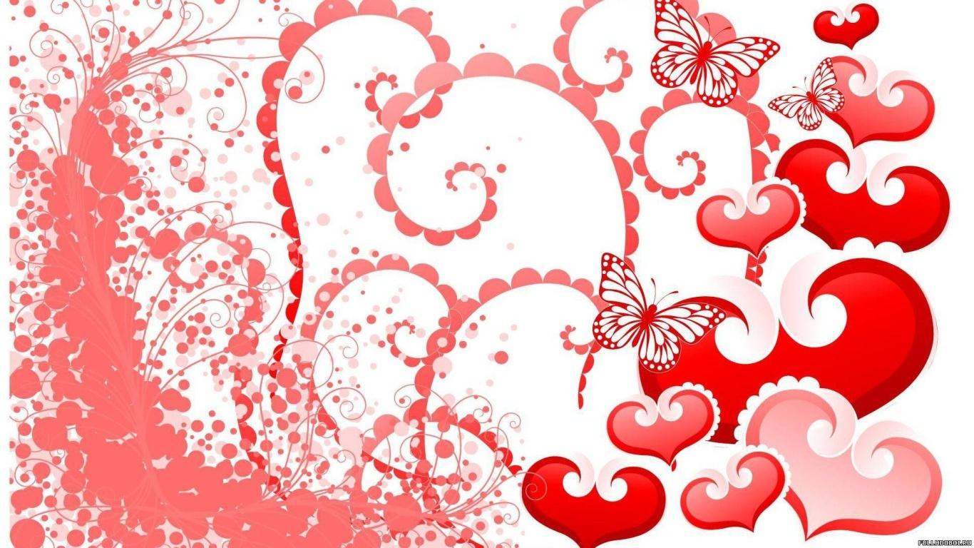 Бабочки и сердца на День Святого Валентина 14 февраля - С днем Святого Валентина поздравительные картинки