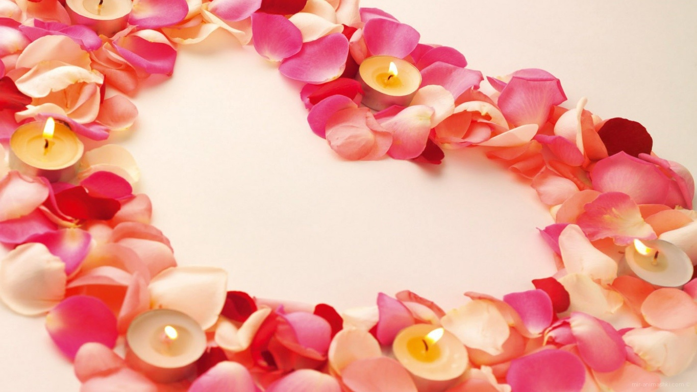 Сердце из лепестков на День Святого Валентина - С днем Святого Валентина поздравительные картинки
