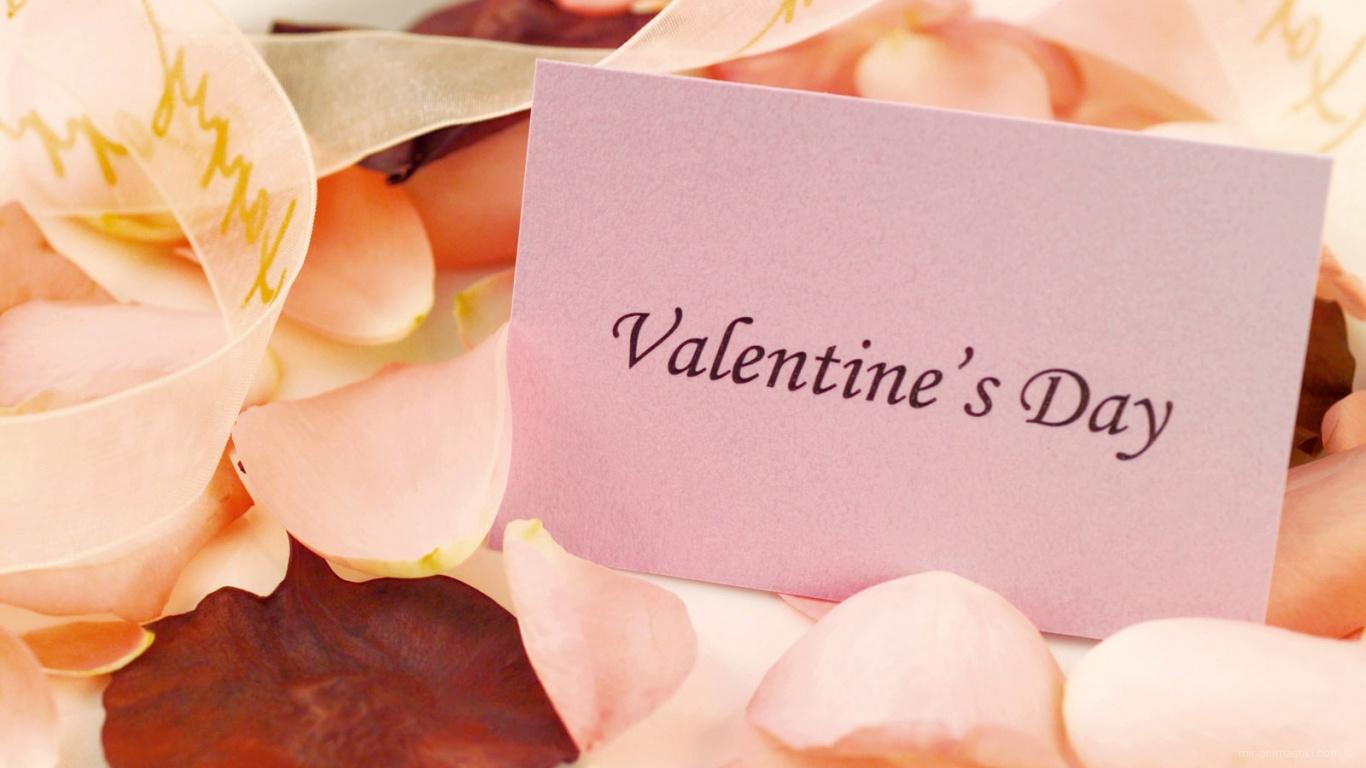 Записка среди лепестков на День Святого Валентина 14 февраля - С днем Святого Валентина поздравительные картинки