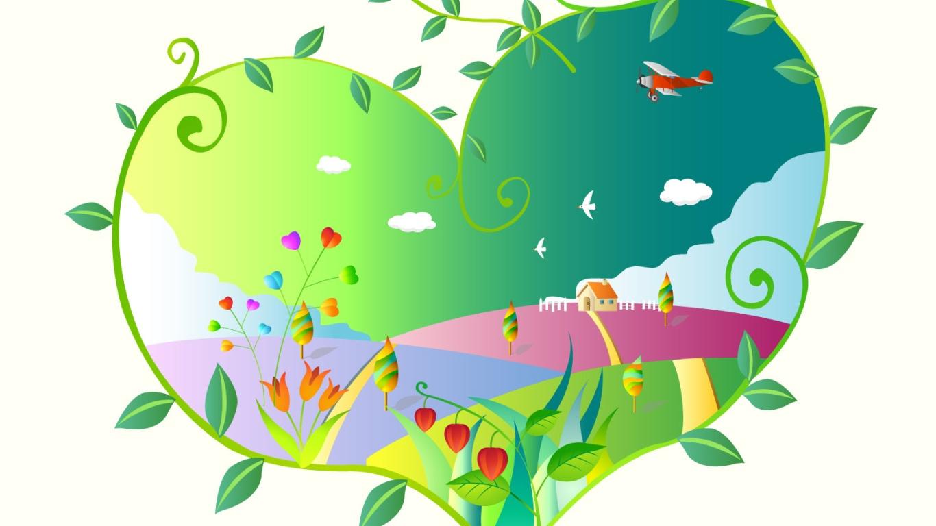 Зеленое сердечко в День Святого Валентина - С днем Святого Валентина поздравительные картинки