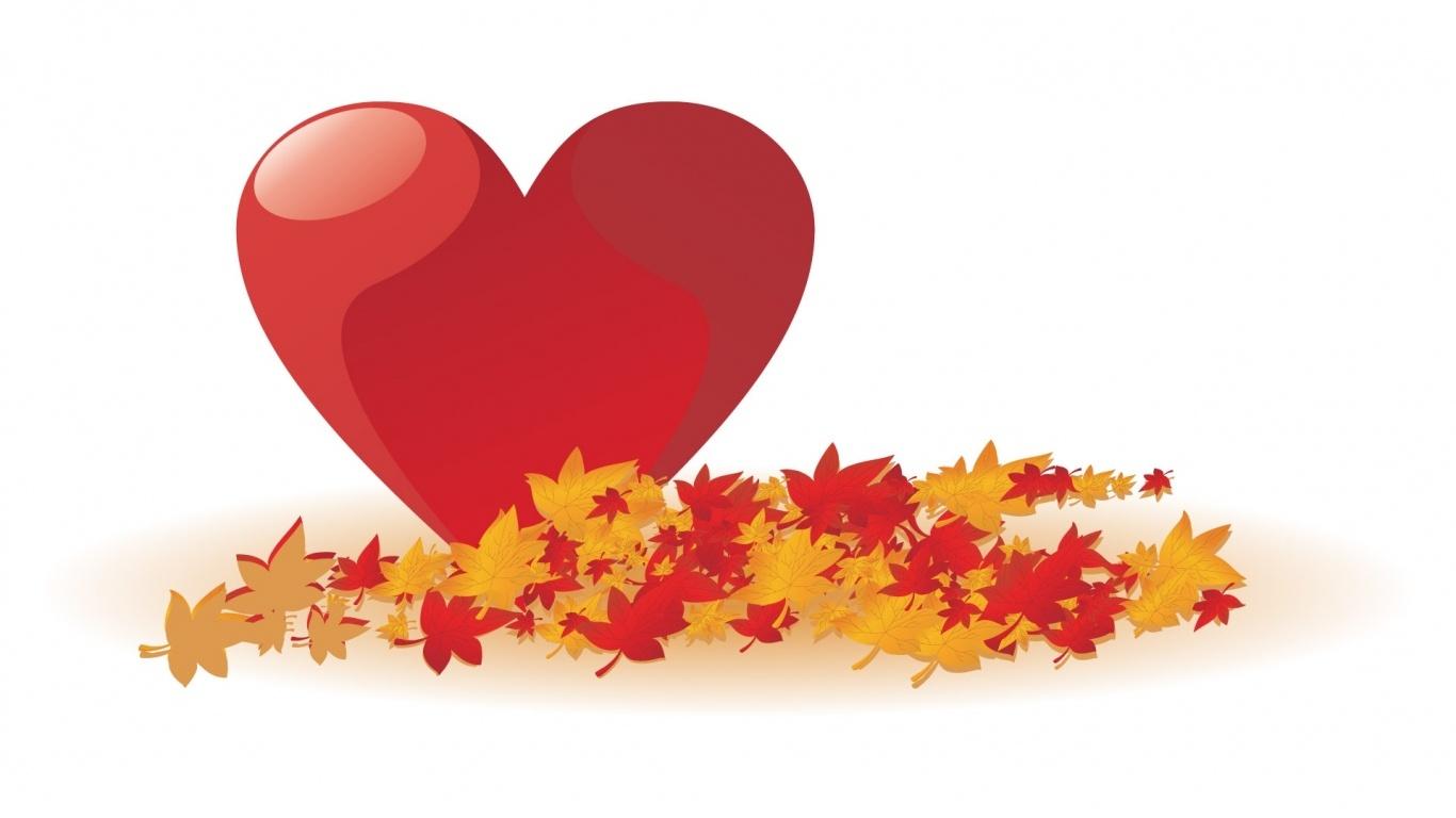 Осеннее сердечко в День Св. Валентина - С днем Святого Валентина поздравительные картинки