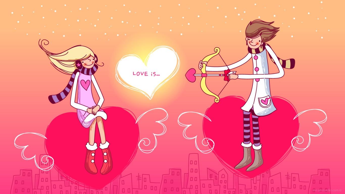 Стрела любви в День Святого Валентина - С днем Святого Валентина поздравительные картинки