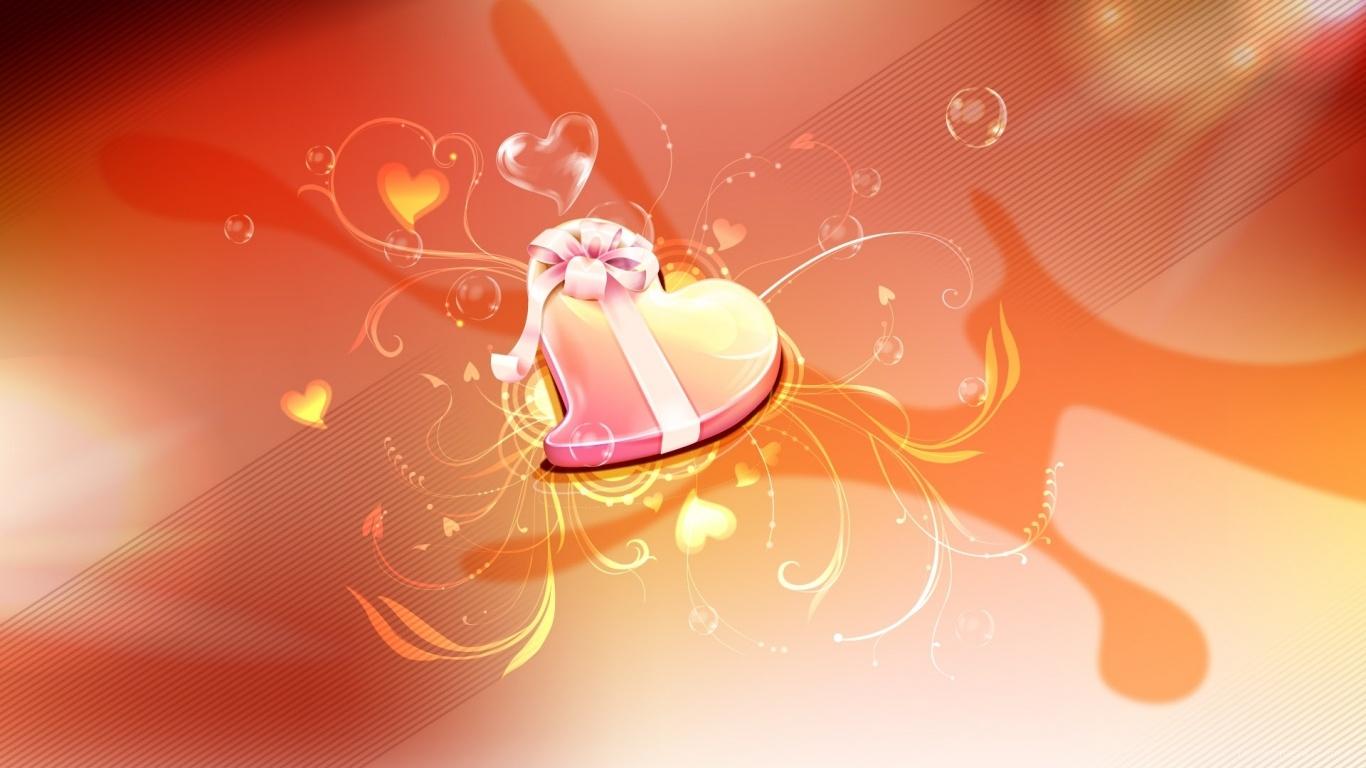 Сердце в подарок - С днем Святого Валентина поздравительные картинки