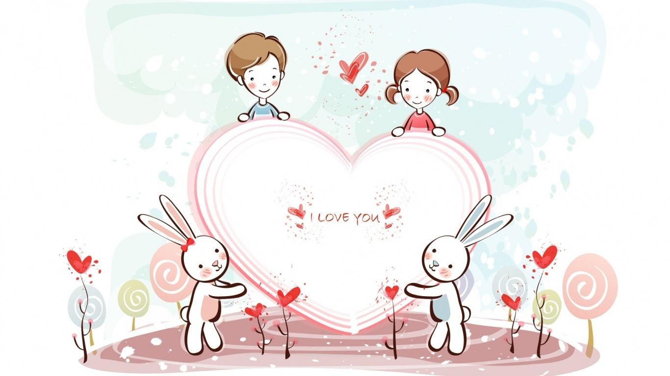 Дети и зайчики День Св. Валентина - С днем Святого Валентина поздравительные картинки