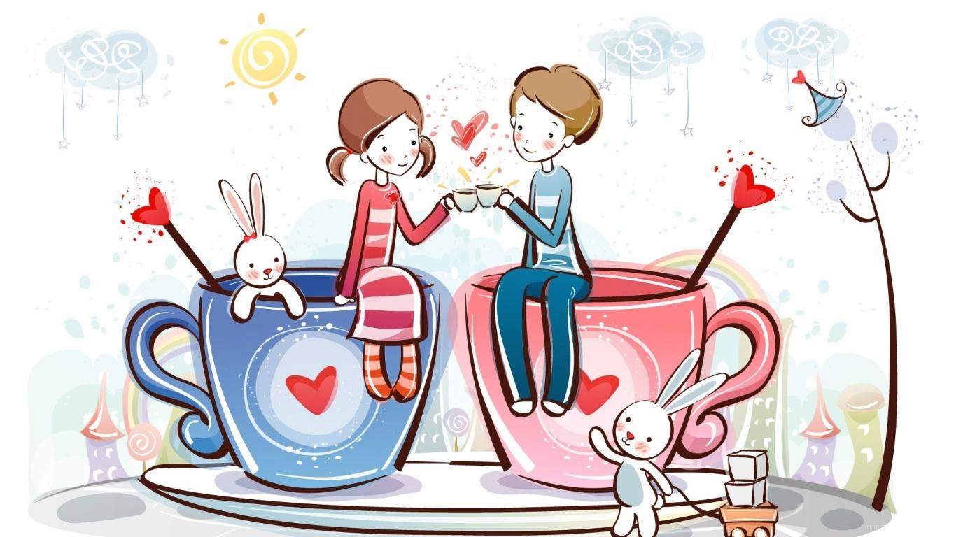 Парочка День Св. Валентина - С днем Святого Валентина поздравительные картинки