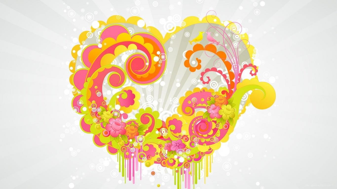 Яркое сердце на День Св. Валентина - С днем Святого Валентина поздравительные картинки