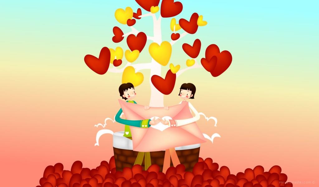 Влюбленная пара на День Св. Валентина - С днем Святого Валентина поздравительные картинки