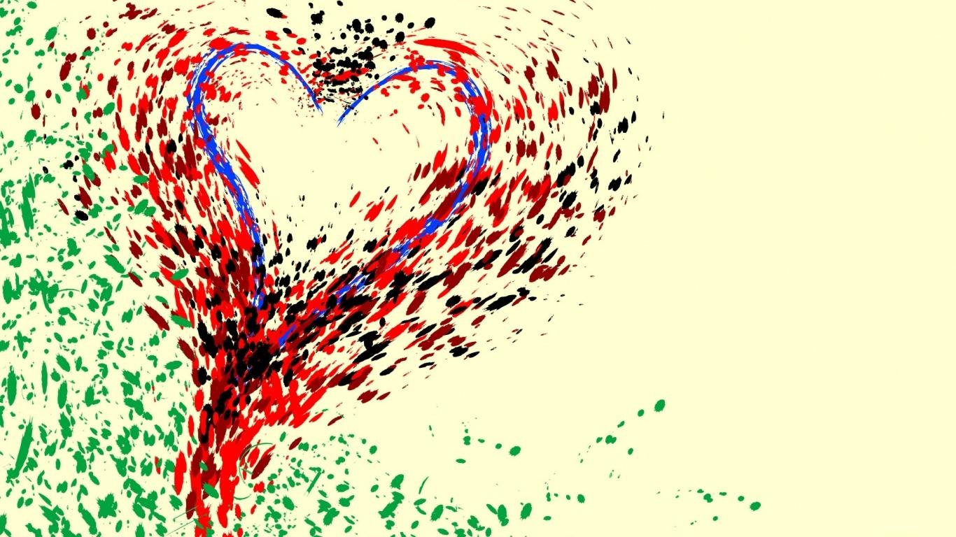 Нарисованное сердце на День Влюбленных - С днем Святого Валентина поздравительные картинки