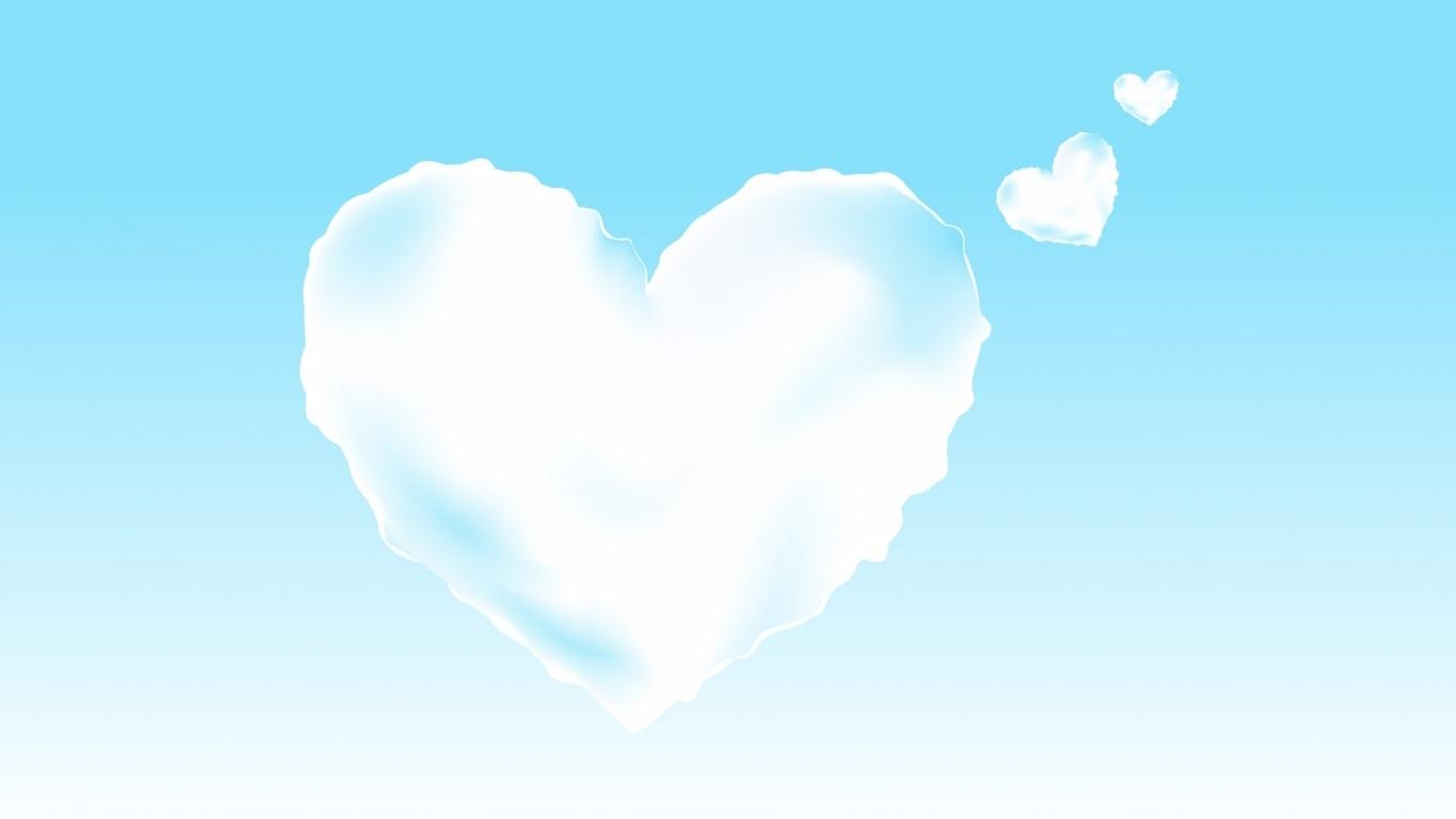 Облака в виде сердечек - С днем Святого Валентина поздравительные картинки