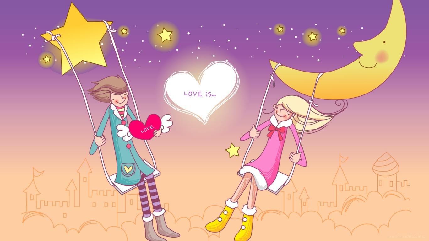 Он и она в День Святого Валентина - С днем Святого Валентина поздравительные картинки