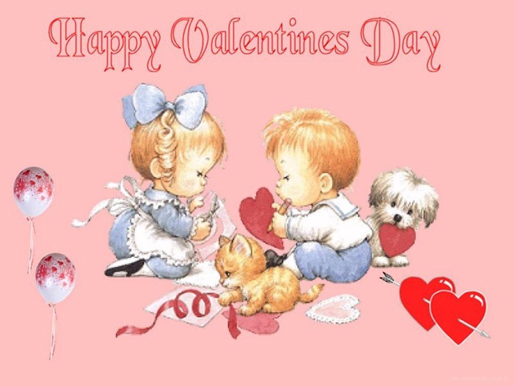 Влюбленные малыши - С днем Святого Валентина поздравительные картинки