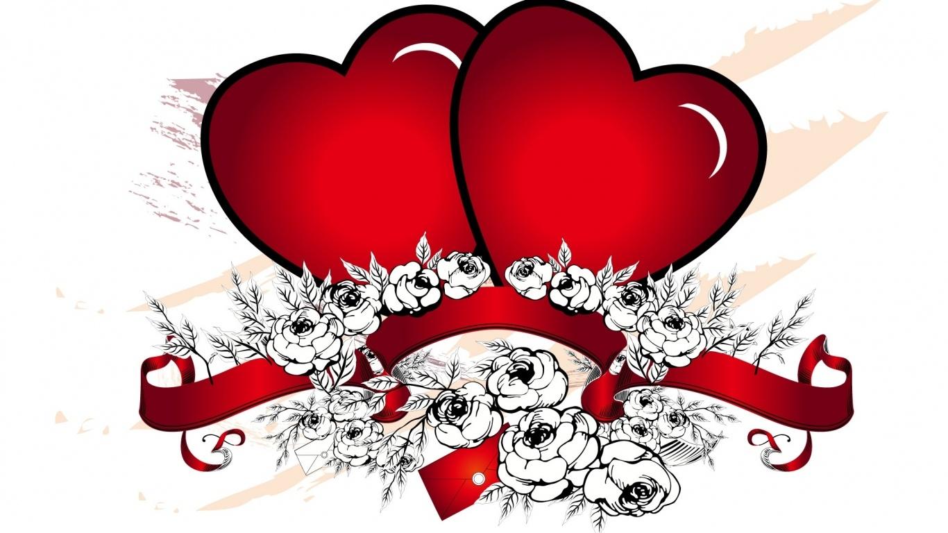 Розы и Красные сердца - С днем Святого Валентина поздравительные картинки