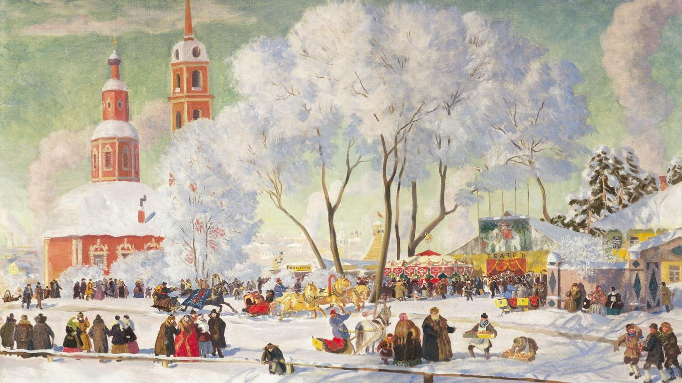 Праздничная ярмарка на Масленицу - С Масленицей поздравительные картинки