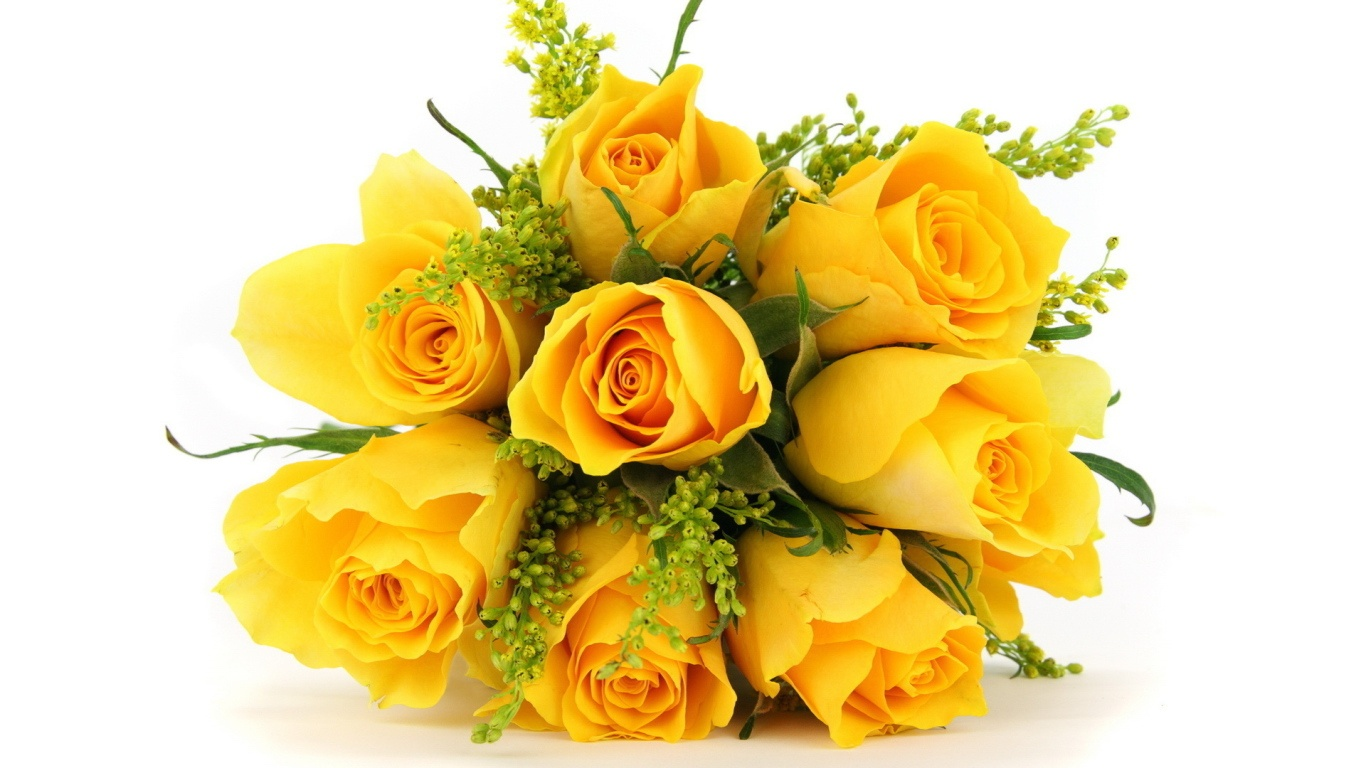 Жёлтые розы в букете на белом фоне - C 8 марта поздравительные картинки