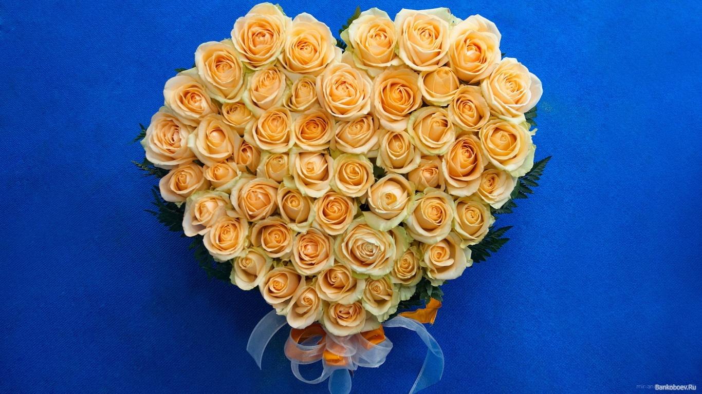 Жёлтые розы в виде сердца на восьмое марта - C 8 марта поздравительные картинки