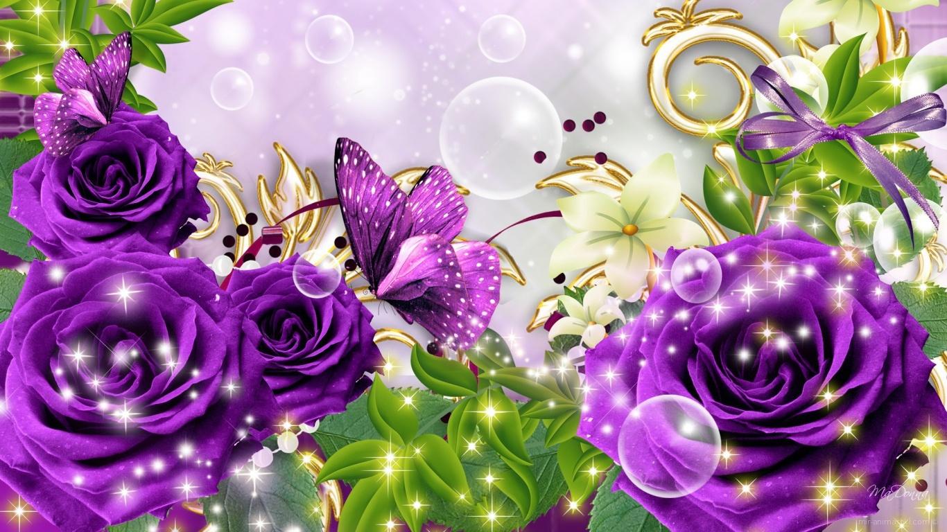 Открытка с фиолетовым цветком