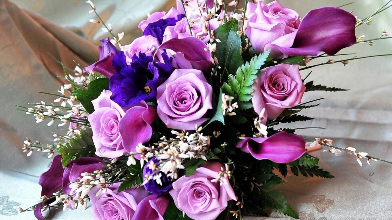 Фиолетовые розы в букете женщинам на 8 марта - C 8 марта поздравительные картинки
