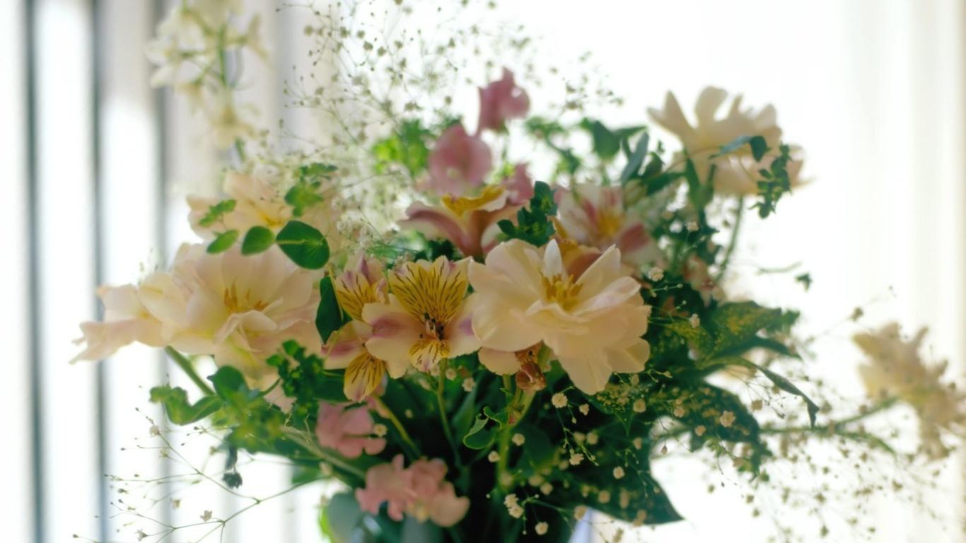 Красивый букет на окне для девушек на восьмое марта - C 8 марта поздравительные картинки
