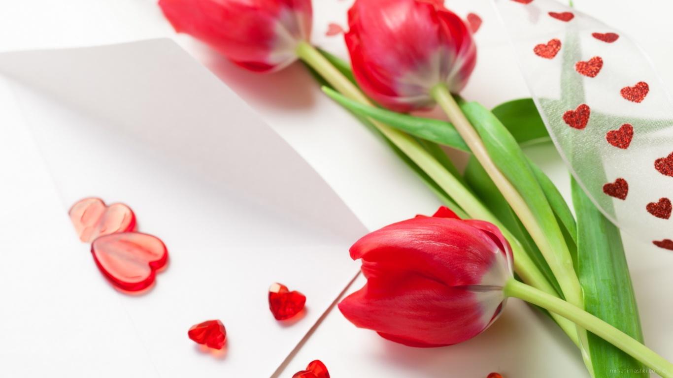 Красные тюльпаны на 8 марта - C 8 марта поздравительные картинки