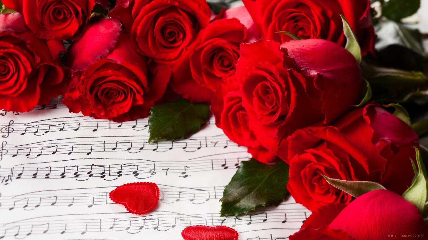 Красные розы на 8 марта на фоне нот - C 8 марта поздравительные картинки