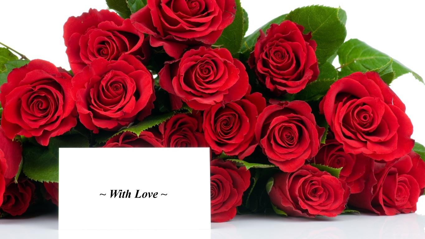 Красные розы на 8 марта с открыткой - C 8 марта поздравительные картинки