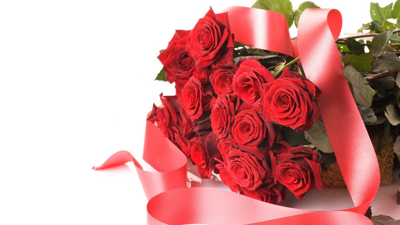 Букет красных роз с лентой на 8 марта - C 8 марта поздравительные картинки